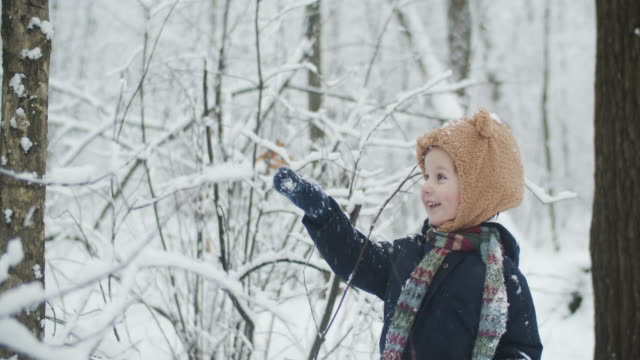 cute little child enjoying winter in park in snow - ethnicity stock videos & royalty-free footage