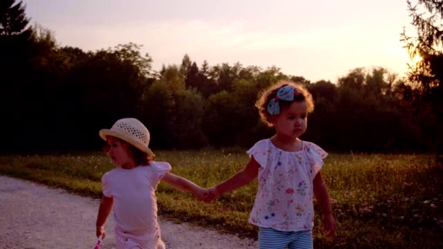 cute little friends in a walk - hair accessory stock videos & royalty-free footage
