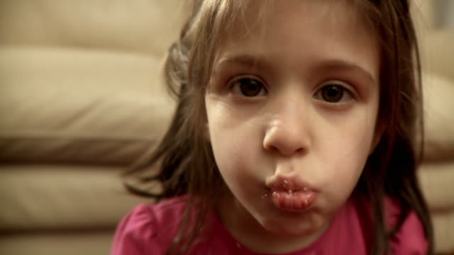 hd: cute little girl eating - chewing stock videos & royalty-free footage