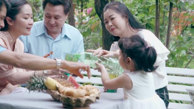 かわいい女の子は彼女の祖父母にいくつかの水を与える - バーベキューパーティー点の映像素材/bロール