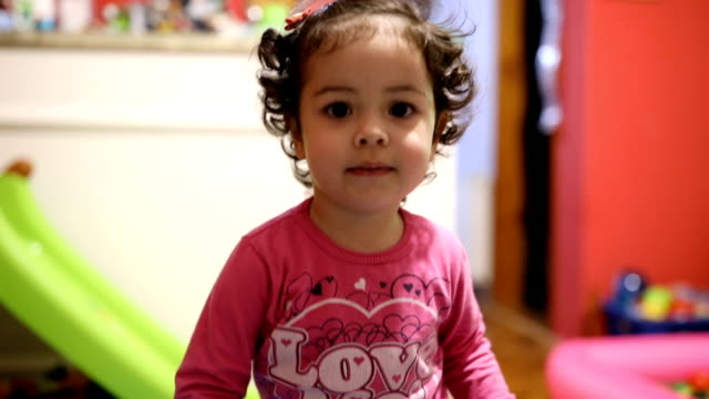cute little girl playing at home - toddler stock videos & royalty-free footage