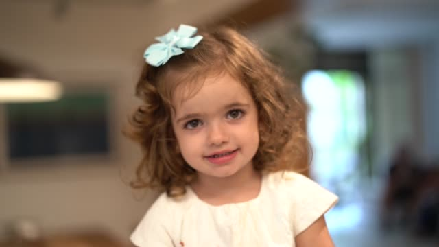 cute little girl portrait at home - baby girls stock videos & royalty-free footage