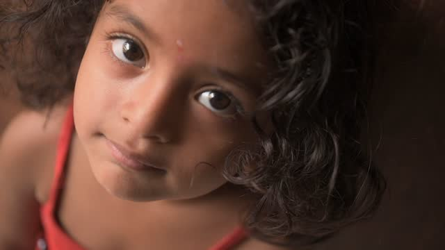 cute little girl portrait at home - indian ethnicity stock videos & royalty-free footage