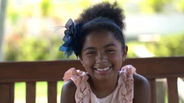 cute little girl portrait - headshot stock videos & royalty-free footage