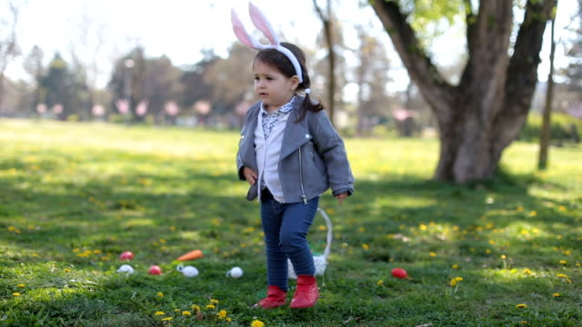 Cute little girl with bunny ears