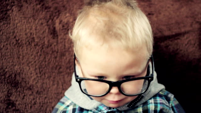 cute nerd boy - eyeglasses stock videos & royalty-free footage