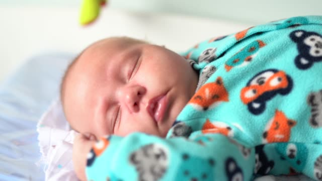 cute newborn baby sleeping - soft blanket stock videos and b-roll footage