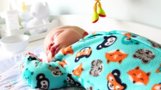 cute newborn baby sleeping - baby blanket stock videos and b-roll footage