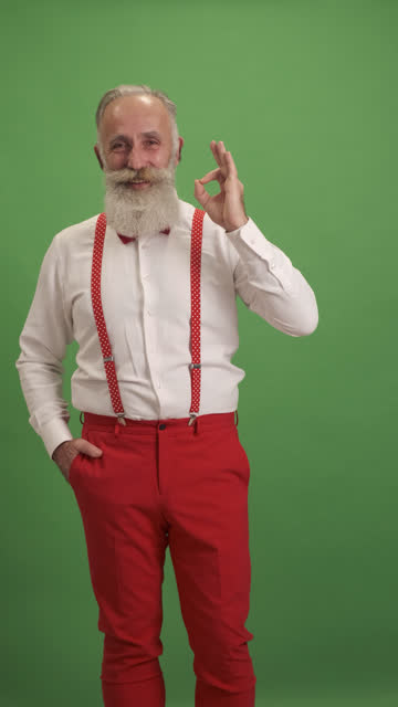 cute old man shows copy space and shows ok sign - shirt and tie stock videos & royalty-free footage