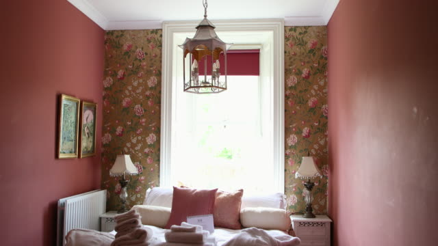 cute pink bedroom - floral pattern stock videos & royalty-free footage