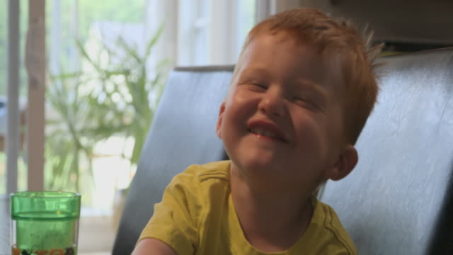 cute redhead toddler smiling and laughing - baby boys stock videos & royalty-free footage