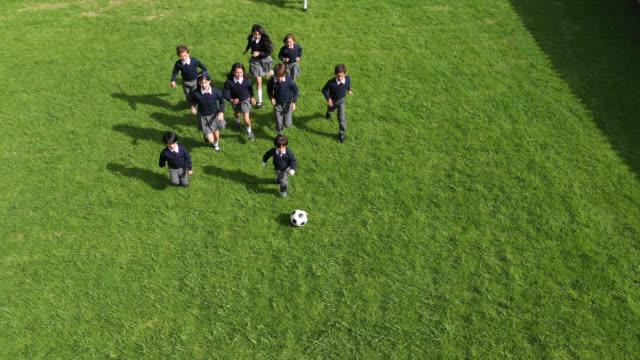 学校の遊び場でサッカーをするかわいい学校の子供たち - 校庭点の映像素材/bロール