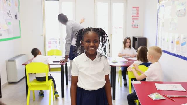 cute schoolgirl - primary school child stock videos & royalty-free footage