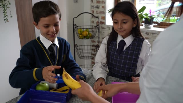 cute siblings packing their lunch box for school with their mom's help - childhood stock videos & royalty-free footage