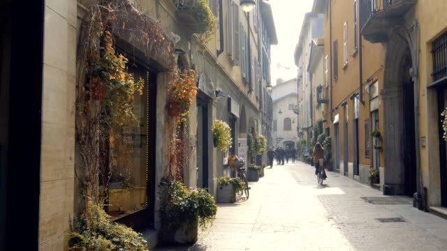 cute street in como, italy - town square stock videos & royalty-free footage
