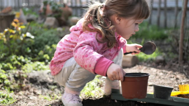 cute three year old girl playing in garden - playing stock videos & royalty-free footage