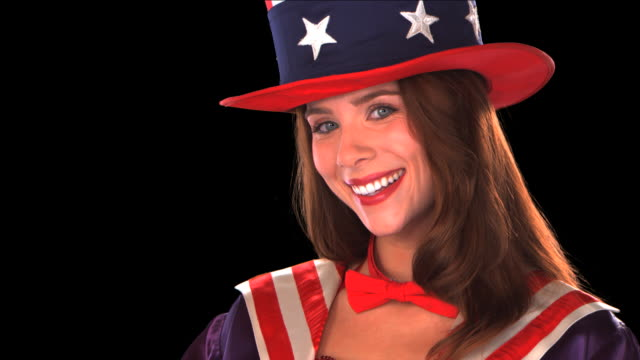 stockvideo's en b-roll-footage met cute uncle sam girl close-up - this clip has an embedded alpha-channel - keyable