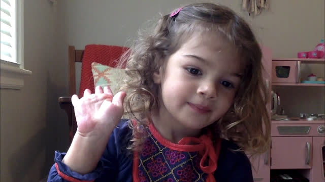 cute young girl participates in online preschool class at home (audio) - only girls stock videos & royalty-free footage