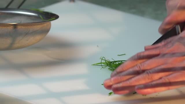 cutting chives - annick vanderschelden stock videos & royalty-free footage