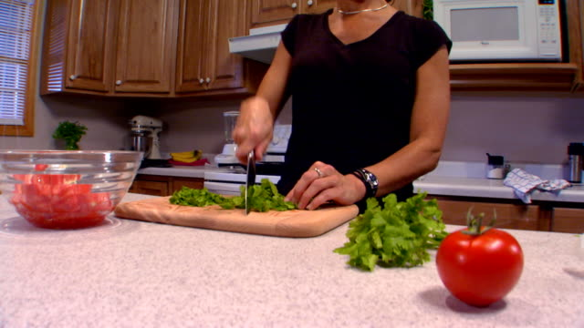 cutting cilantro, jib shot, zoom in - cilantro stock videos and b-roll footage