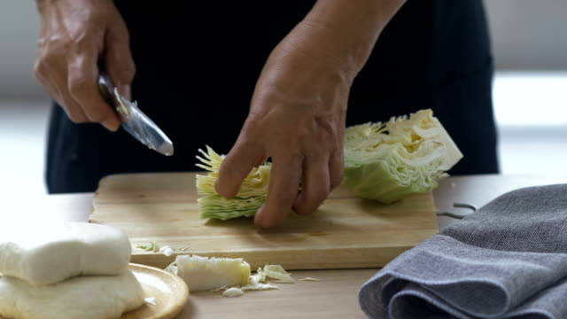 cutting fresh cabbage - cabbage stock videos and b-roll footage