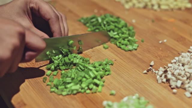cutting fresh spring onions - scallion stock videos & royalty-free footage