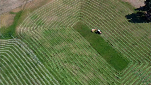 cutting grass for hay  - aerial view - montana,  ravalli county,  helicopter filming,  aerial video,  cineflex,  establishing shot,  united states - tractor stock videos and b-roll footage
