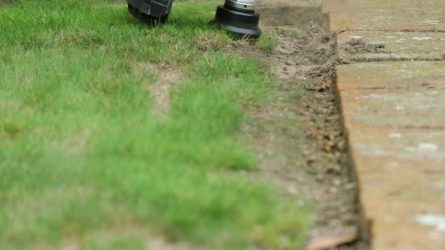 cutting line head of gardening machine. - miglioramento video stock e b–roll