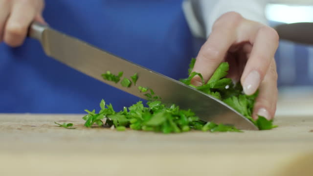 cutting parsley - table knife stock videos & royalty-free footage
