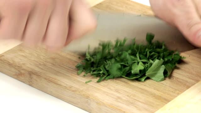 cutting parsley