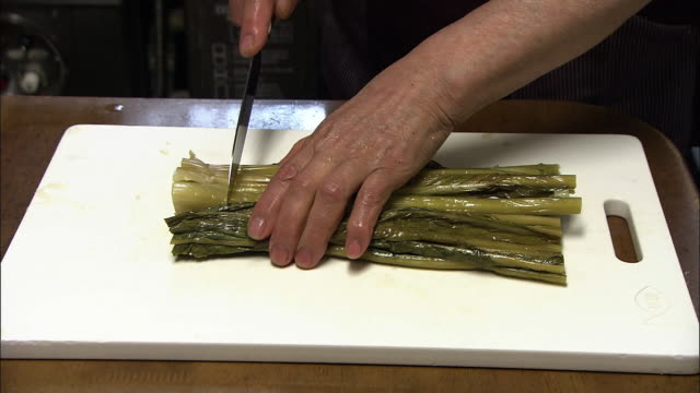 cutting pickles called nozawanazuke, nagano, japan - pickled stock videos and b-roll footage