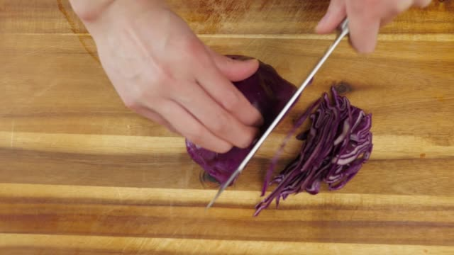 cutting red cabbage - red cabbage stock videos & royalty-free footage