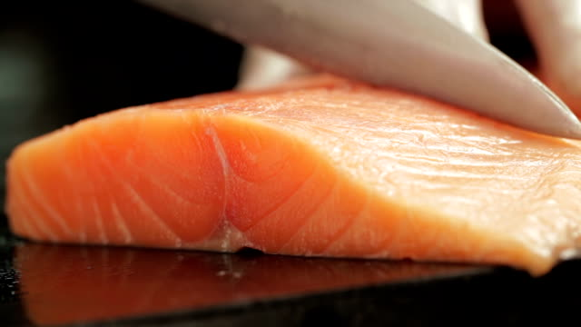 cutting salmon - salmon stock videos & royalty-free footage