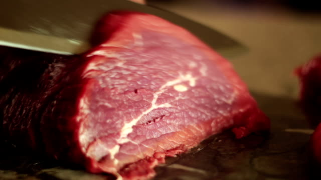cutting sirloin beef - brisket stock videos and b-roll footage