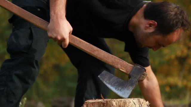 カティングウッドのログに、ax - 材木点の映像素材/bロール