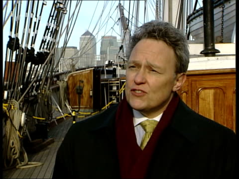 cutty sark national lottery grant; richard doughty interview sot - this is whole new ball game/ we're talking about being able to preserve shape of... - whole stock videos & royalty-free footage