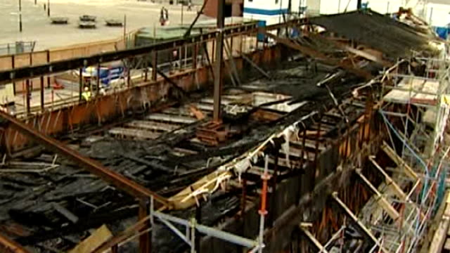 cutty sark's masts raised for first time since fire r29050702 charred timbers and metalwork left after fire aboard 'cutty sark' - metalwork stock videos & royalty-free footage