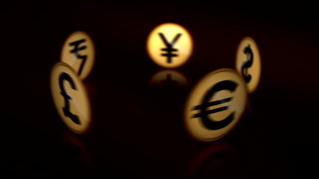 vidéos et rushes de cuurrency symboles - symbole du yen