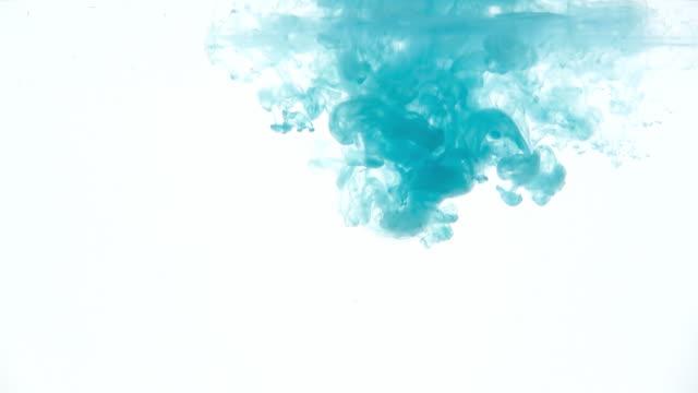 Cyan ink dissolving in water tank