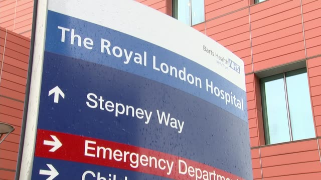 no 'second wave' attacks reported ENGLAND London Whitechapel EXT Ambulances paked outside Royal London Hospital Hospital entrance Various of hospital...