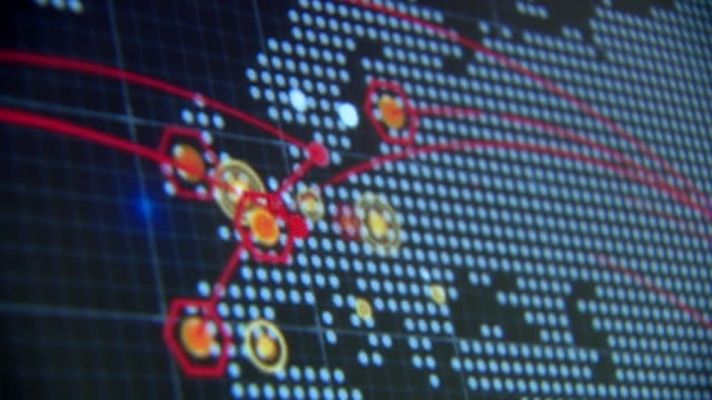 stockvideo's en b-roll-footage met cyber crime unit computer at the national crime agency showing current cyber attacks happening worldwide - criminaliteit