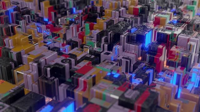 cyber cubes glitch blocks background - blockchain stock videos & royalty-free footage