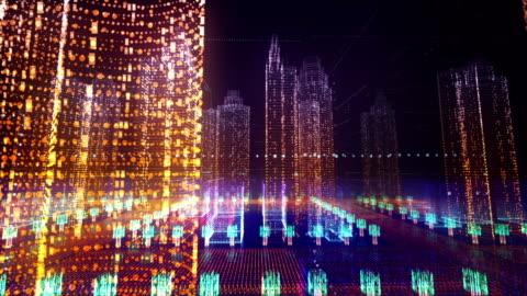 vídeos y material grabado en eventos de stock de ciudad digital cyber 3d - holograma