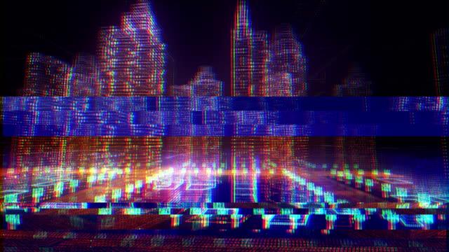 3d cyber digital city - hologram stock videos & royalty-free footage