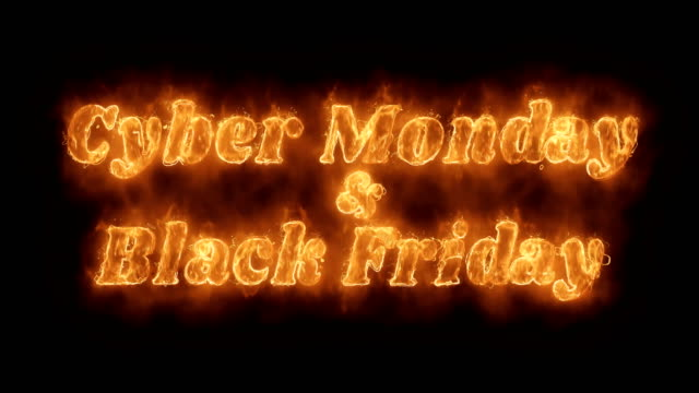 Cyber Monday & Black Friday  Word Hot Animated Burning Realistic Fire Flame Loop.