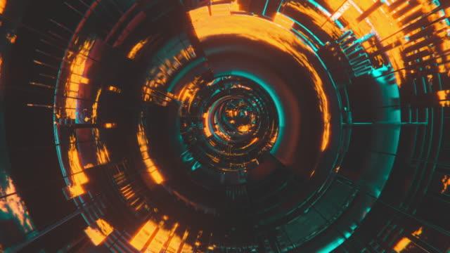 cybertunnel mit glühendem zentrum - schaltkreis stock-videos und b-roll-filmmaterial