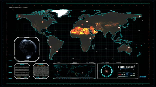 cyber world map in cyberspace central control room - air force stock videos & royalty-free footage