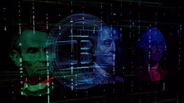 stockvideo's en b-roll-footage met cybermoney dollar valuta digitaal - mining