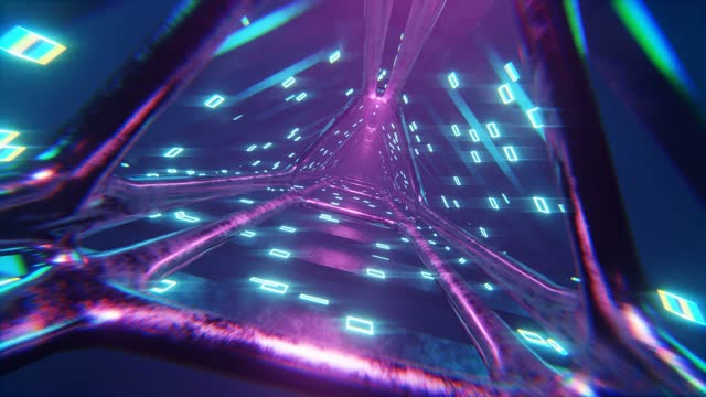 cyberpunk style, retro, futuristic 80's design, 3d 4k digital animation, flying through glowing rotating neon triangles creating a tunnel, blue red pink spectrum, fluorescent ultraviolet light, modern colorful lighting, loopable 4k animation - laser stock videos & royalty-free footage