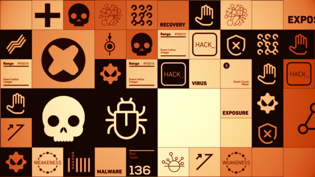 cybersecurity symbols - sicurezza di rete video stock e b–roll